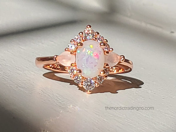 Vintage Rose Gold Womens Lab Opal Ring CZ.& Moonstone Accent Stones Women's Jewelry Promise Rings Gifts Jewellery Femme Anilla FREE Velvet Ring Box