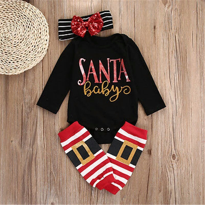 Baby Girl SANTA BABY Christmas Gift Set Infant Photo Prop Infant Boutique Holiday Clothing Clothes Newborn