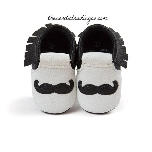 Mustache Mocs Pre Walker Soft Sole Infant Shoes 0 0/6 mo Baby Shower Gift Ideas Boy Girl Black White PU Leather