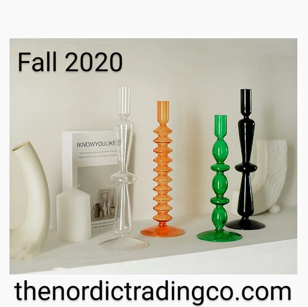 Fall 2020 Tablescaping Custom Candle Sticks Clear Orange Black Green