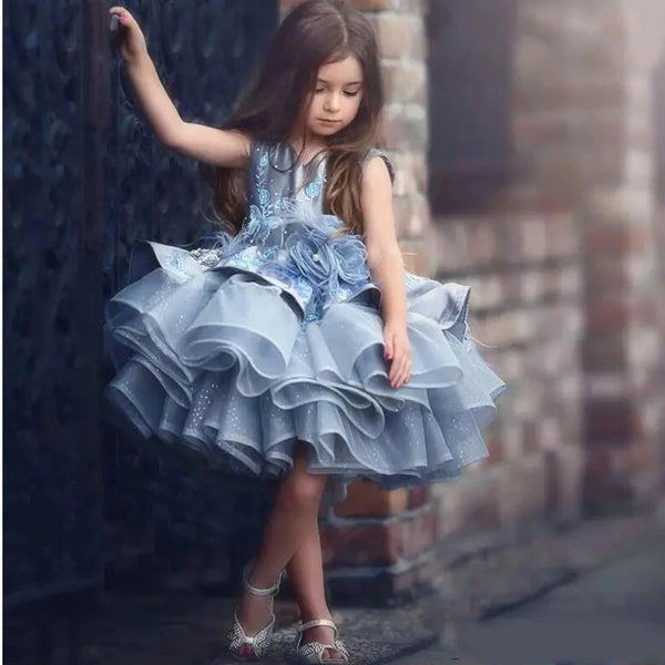 Dusty Blue Flower Girl's Dress Girls Dresses Gowns Formal Wedding Toddler and Up Girl Floral Princess Holiday Clothing