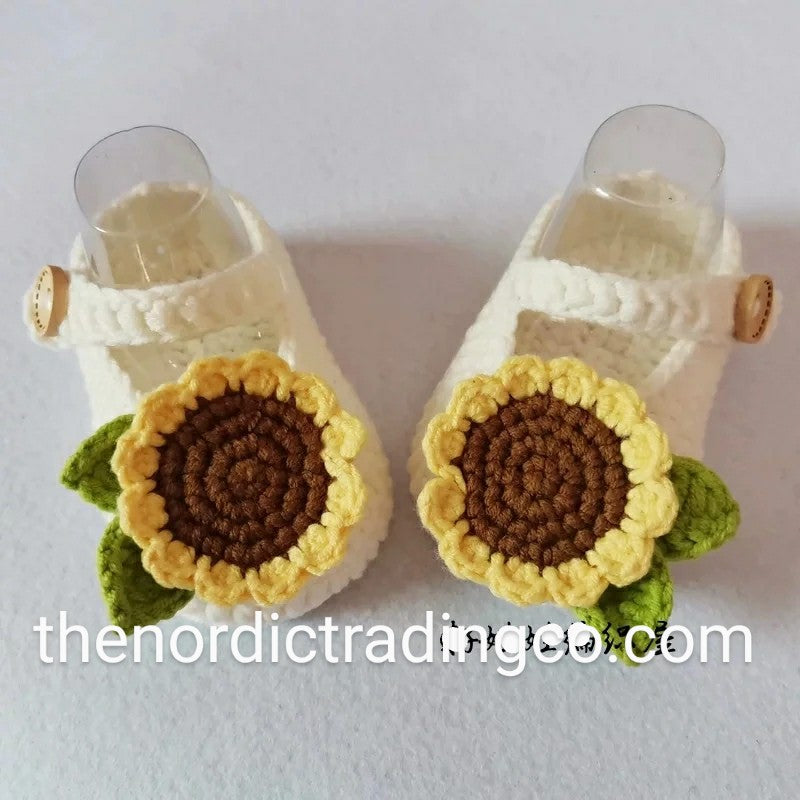 Handmade Sunflower Baby Girls Mary Jane Shoes Crochet Booties Baby Shower Gift Infant Girl Newborn 0/6 mo Off White Brown Yellow