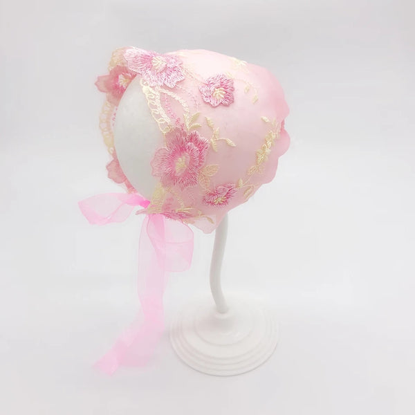Baby Bonnet Girls Handmade Hat Infant Hat's Satin Embroidered Flowers Ribbons 4 colors Newborn Girl Baby Shower Gift Hat Photo Prop Babies Keepsake