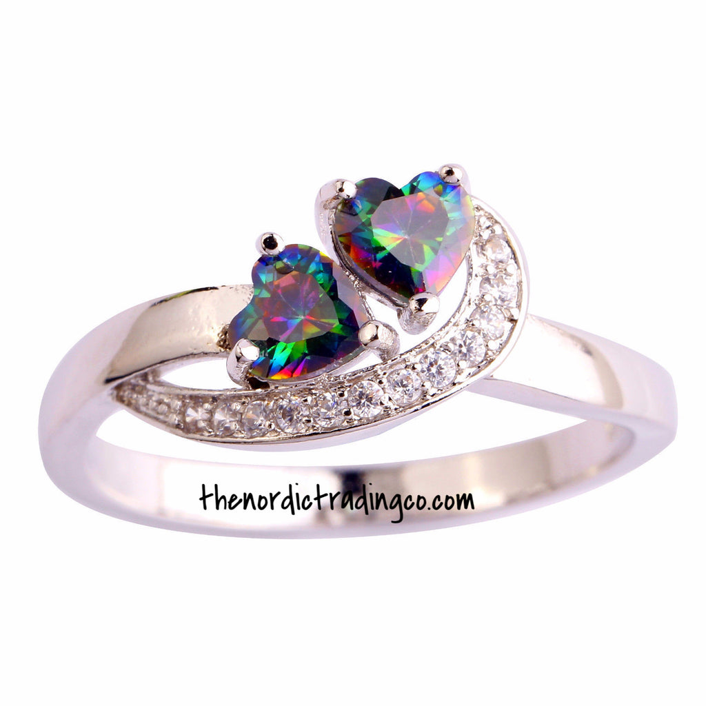 Mystic Topaz Two Heart Ring CZ's Gently Hug Hearts Create Brilliance Around A Fiery Rainbow of Color .925 Silver Plate Setting 2