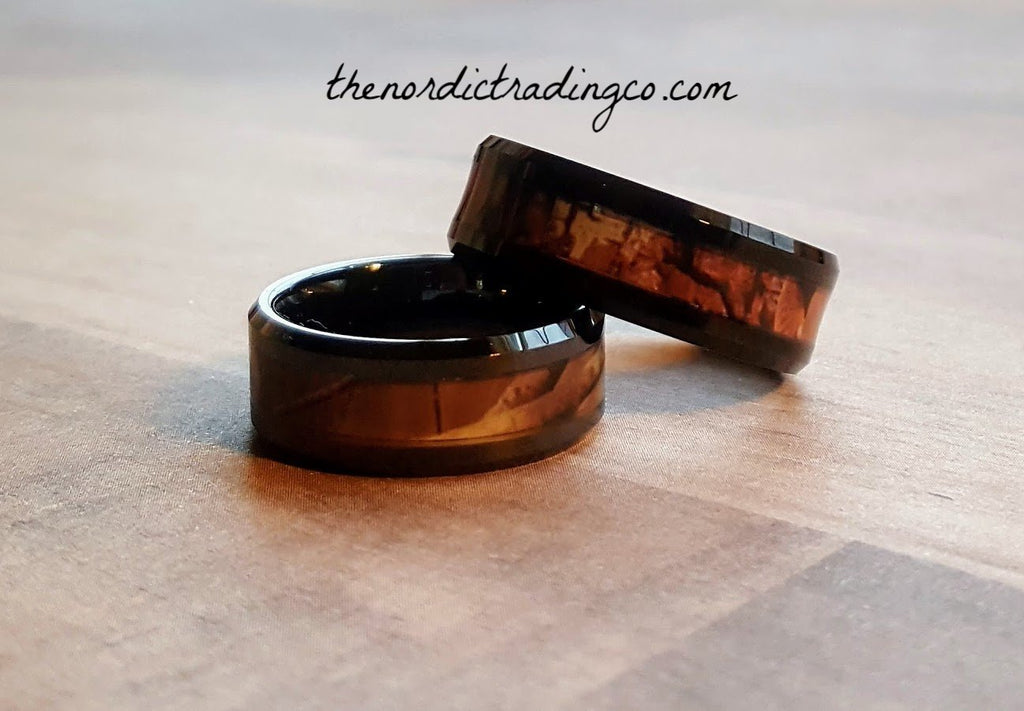 Camo Wedding Ring Set Black Tungsten Red Oak Forest Inlay Hunter