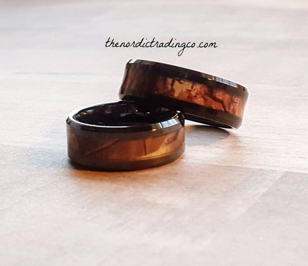 Woodlands Forest Camo 2 Ring Couple's His & Hers Wedding Rings Tungsten Carbide Camouflage Inlay sizes 5 thru 15 Hunters Outdoors