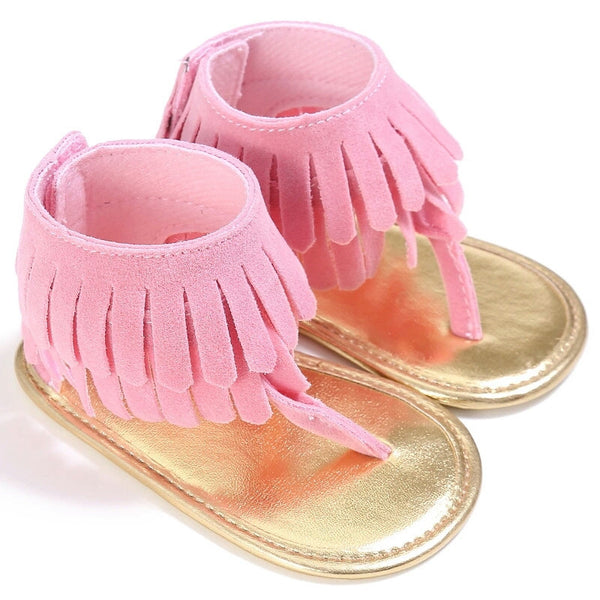 Baby Girl Fringe Vegan Suede Sandals Ankle Strap Pink Hot Pink Brown Orange First Shoes sz 1 2 Infant Kids Hot Item