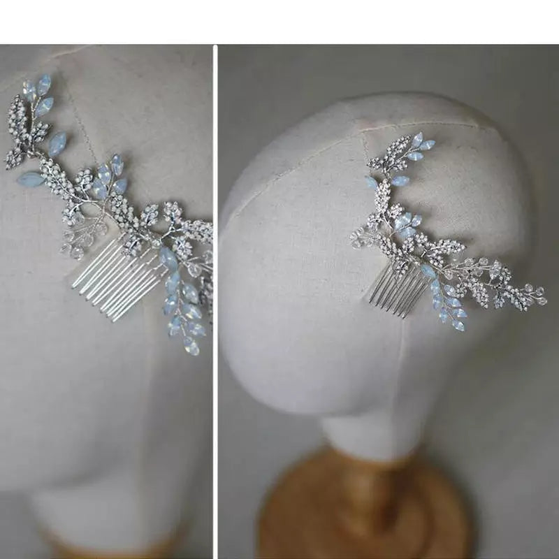 Wedding Bridal Head Piece Dusty Blue Crystal Accents Ready to Ship Bride Bridesmaids Hair Combs Accessories Formal Attire