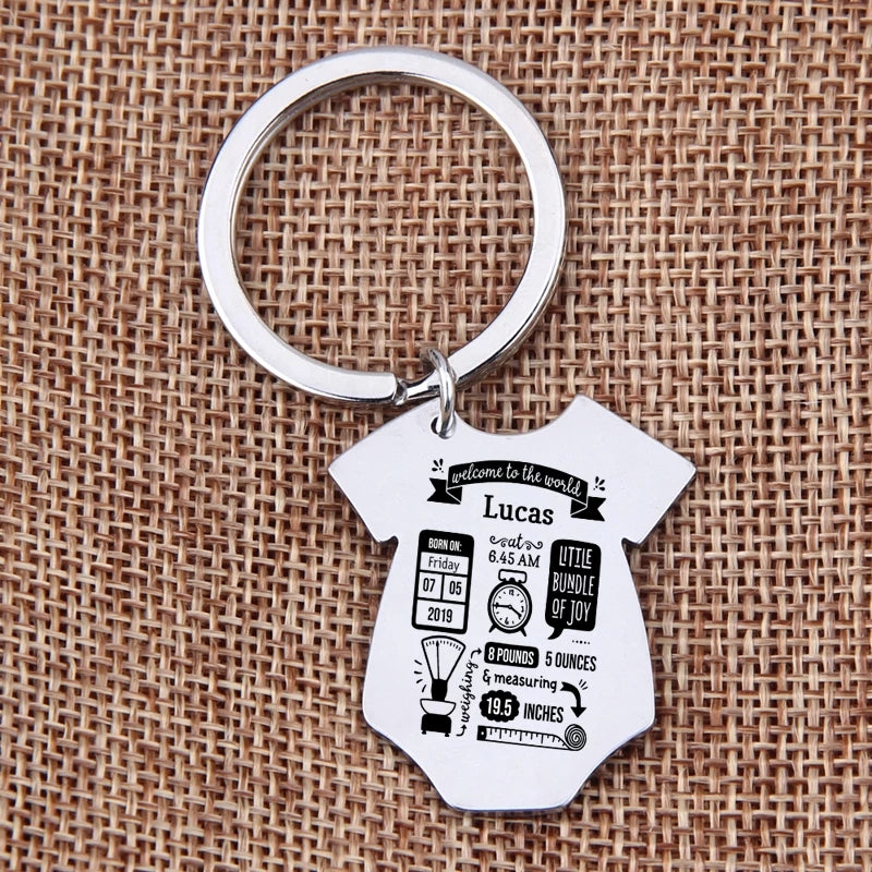 New Baby Custom Gift Onesie Personalized Birth Stats Key Chain Babies Name Birthday Cute New 2020 Product Ava Now
