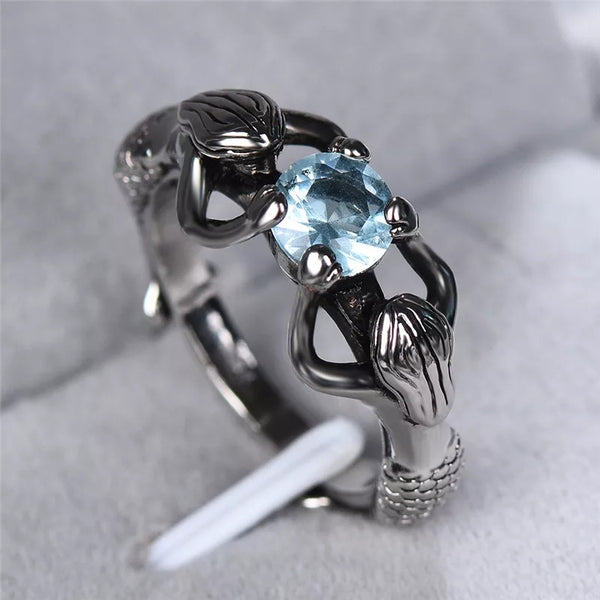 Two Mermaids Aquamarine Oceans Inspired Womens Ring Anilla Jewelry Gifts Titanium