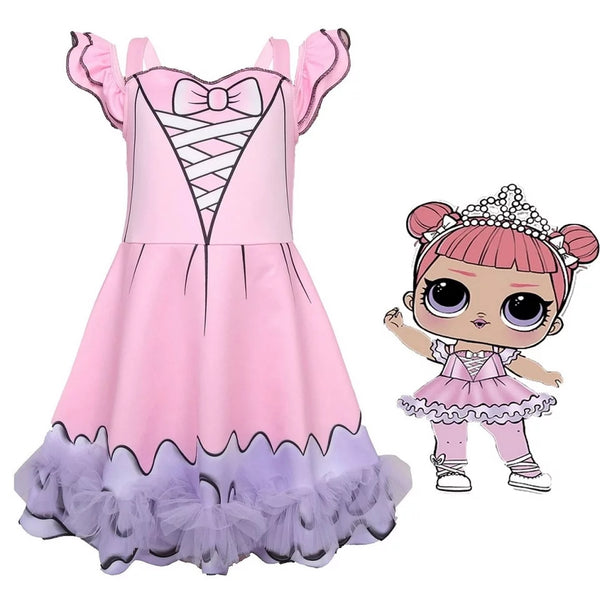 Girls Dresses Surprise Doll Party Dress Girl's Toddler Little Girls Costumes Kids Confetti Ballerina Girl Birthday Party
