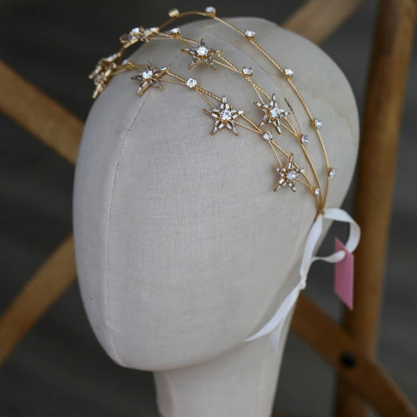 Celestial Starry Night Headpiece Bride Bridal Headband Gold Stars Astronomy Astrology Hair Band Womens Girls Teen Wedding Prom