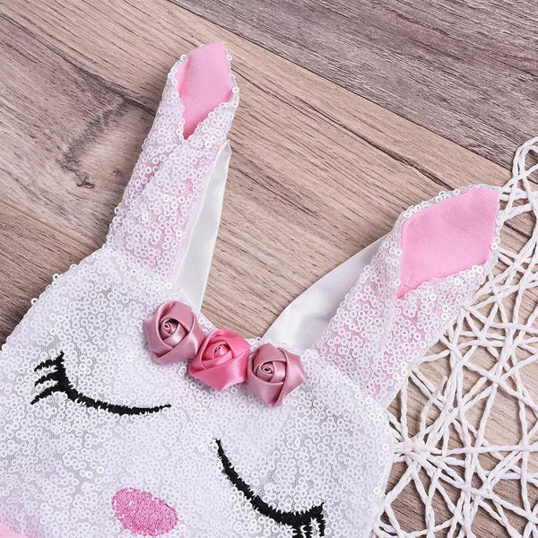 Girl's Easter Bunny Sequin Tutu Romper Dress Girl Baby Shower Gift First Egg Hunt Rabbit Dresses Clothes Outfits Clothing
