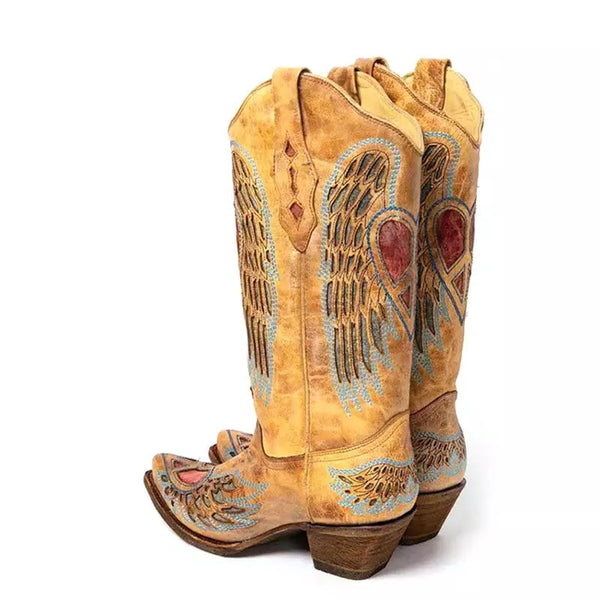 Heart Wings Womens Cowboy Boots or Sunflower PU Leather Embroidery Cowgirl Western Boot Boho Chic