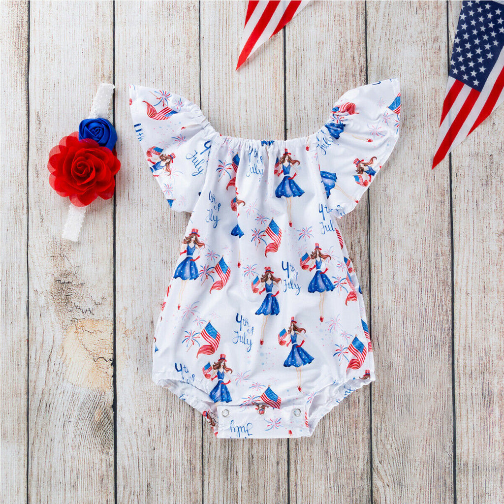 Lil Miss America Newborn Baby Girls 4th of July Girl Romper & Headband Set Baby Outfit Infant First Fourth of July Shower Gift
