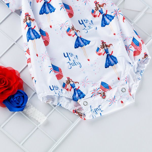 USA Newborn Girls First 4th of July Romper Headband Baby Lil Miss America Red White Blue Independence Party Fourth Day Baby Shower Gift Clothes Outfits