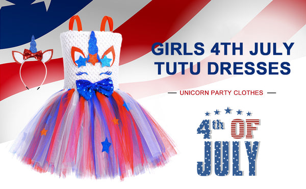 Red White Blue Unicorn Tutu Dress Girls 4th of July Outfit USA Patriotic Dresses Toddlers Girl's Sets Tutu Birthday Costumes