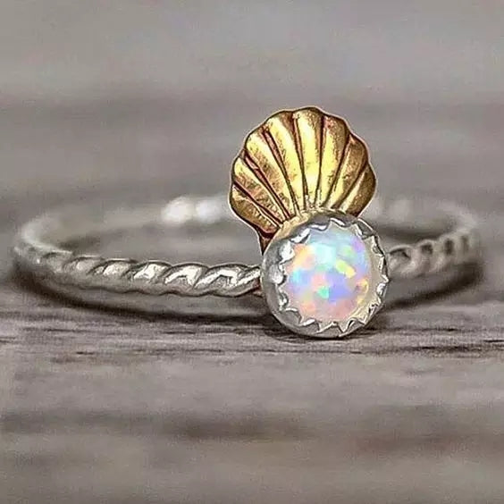Enchanting Mermaid Moonstone Women's Ring Petite Jewelry Collection Rings Accessories Gifts Women Girls Rosegold Sea Shell