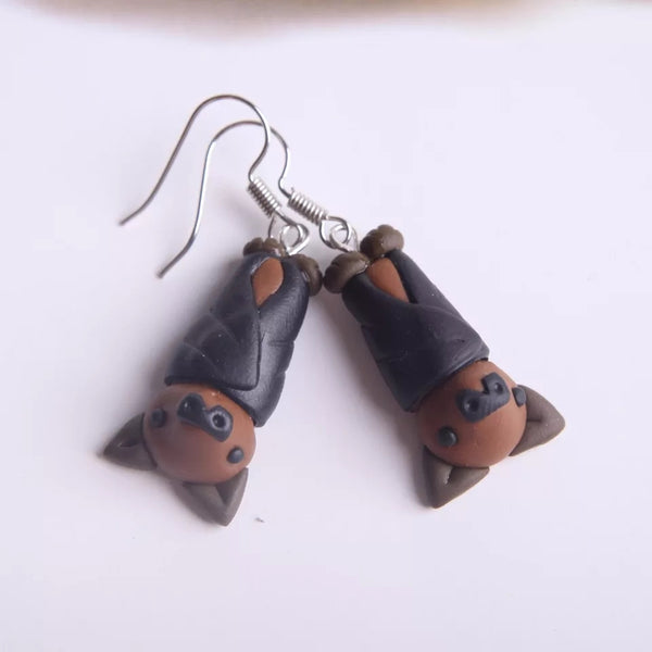 Handmade Bat Earrings cute Vampire Bats Women's Girl's Halloween Fun Jewelry Flying Fox Gifts