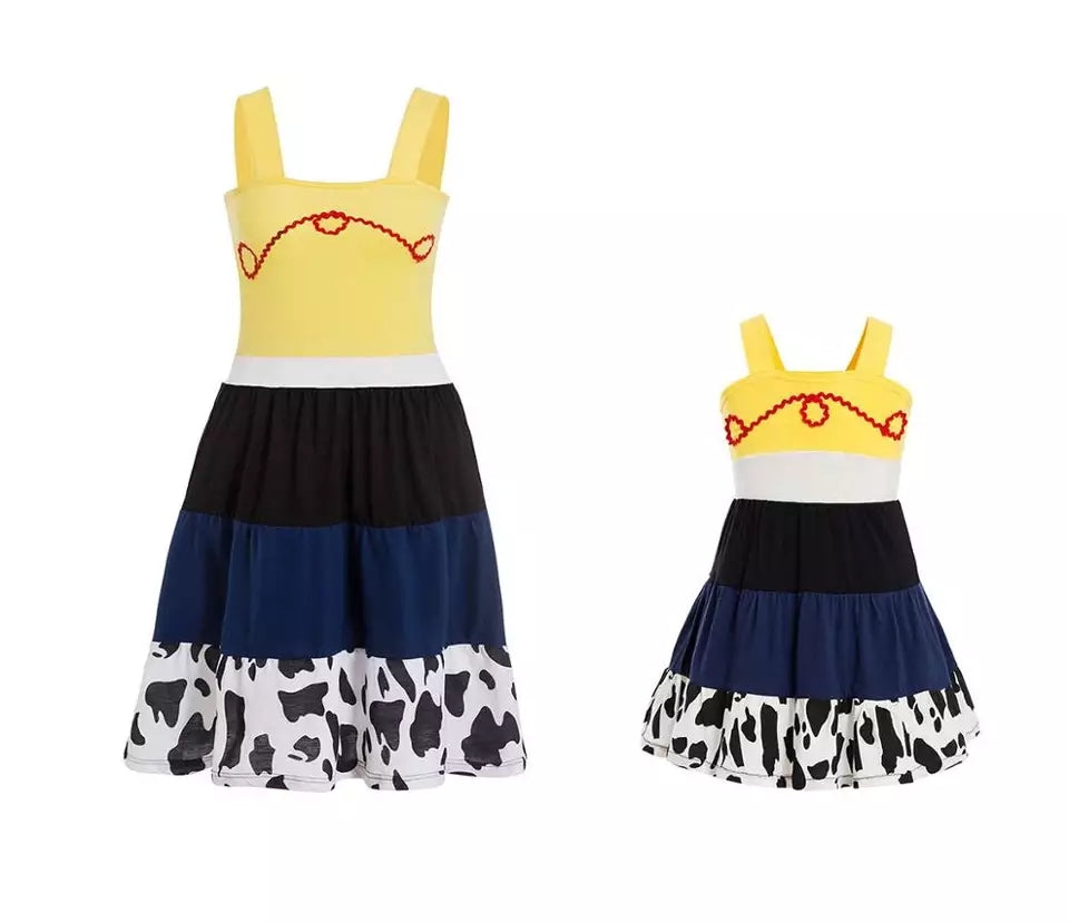 Cow girl dress Toy Story dress Disney clothing  dress available in sizes  3,6,9,12,18, months 2t,3t,4t,5t,6,7,8,9,10,12,14 Cow dress