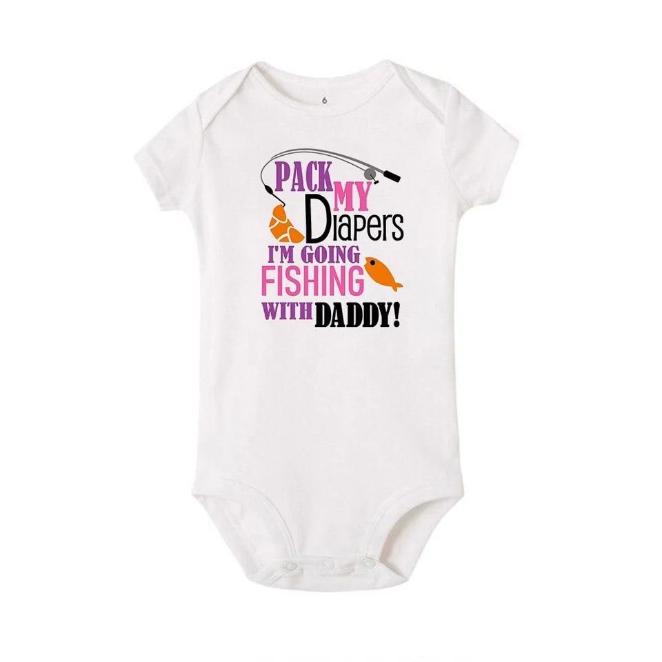 Infant Girls Pack My Diapers I'm Going Fishing With Daddy Onesie plus Bonus Girl Fish Newborn Bodysuit Romper Baby Shower Gift Set Popular Fun Gifts Clothing Clothes