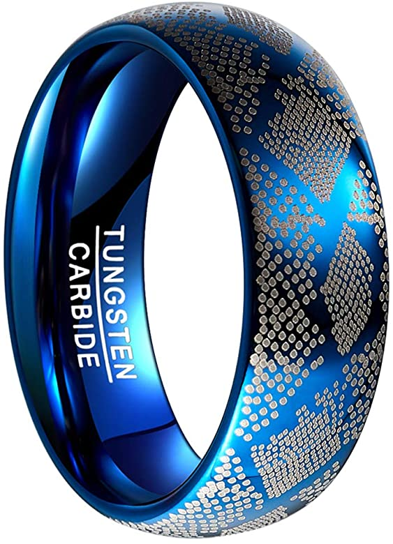 Mens Fisherman Fish Scale Pattern Ring Wedding Band Tungsten Carbide Rings Blue Silver Fishing Hobby Career Bands Jewelry Gifts Men