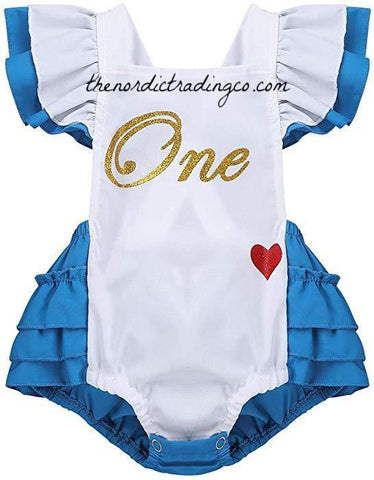d0c92b2de2d74 Alice in ONE derland and Story Book Baby Girls 1st Birthday Romper 12 18 mo