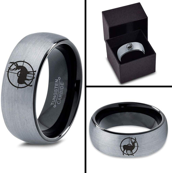 Hunter's Ring Deer in the Crosshairs Wedding Ring Brushed Silver Tungsten Carbide Buck Camo Rings Hunter Engagement Band Groom Him