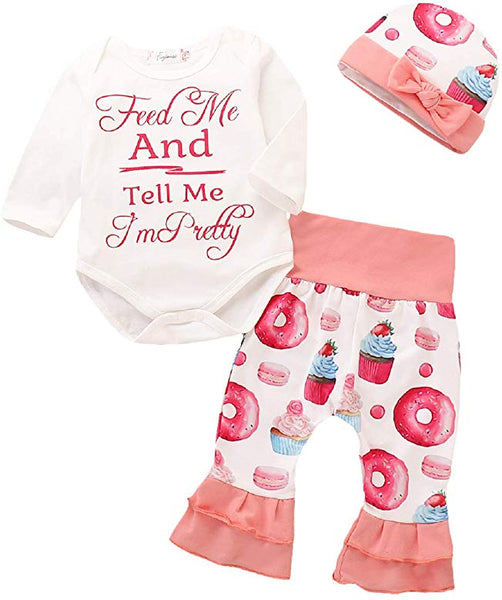Infant Girl's Donuts Outfit Feed Me Tell Me I'm Pretty Set Newborn Girl's Baby Shower Gift Idea Babies Clothing 0/6 mo