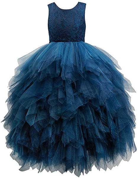 Stunning Blue Flower Girl's Dress Lace Crossed Back Stacked Layers of Tulle Satin Bodice Wedding Dresses Indigo Navy Midnight Prussian Girls Ball Gowns