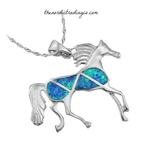 Wild Horses Created Blue Fire Opal Womens Cowgirl Necklace .925 Silver Jewelry Accessories Gifts Horse Equestrian Pendant Women's Girls Necklaces