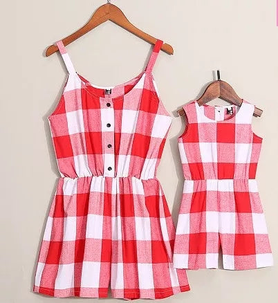 Mommy & Me Dresses Buffalo Plaid Black Red Rose Pink