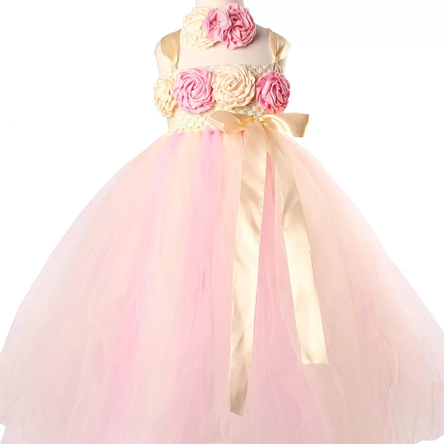 Little Girl's Flower Girl Tutu Dress Birthday Party Floor Length Gown Dresses Blush Pink Ivory Toddler to Teens Girls Wedding Attire