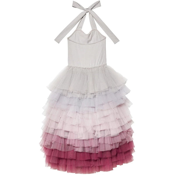 Girls Ombre Flower Girl's Dress Gray to Burgundy Cake Layer Stack Tulle Ruffles Formal Wedding Dress Girl Clothes Kids Toddler