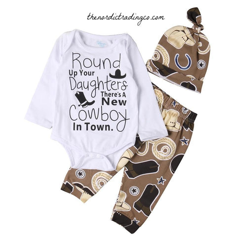 Round Up Your Daughters There's A New Cowboy In Town Infant Newborn Boy Sets Baby Boy's Shower Gifts Clothes 0/6 mo