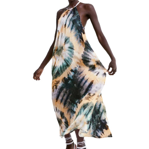 Women's Designer Tie Dye Maxi Dresses Women Upscale Party Dress Green Yellow Gold Summer Fall 2019 A Line Halter Neck M L Clothing Clothes Boho