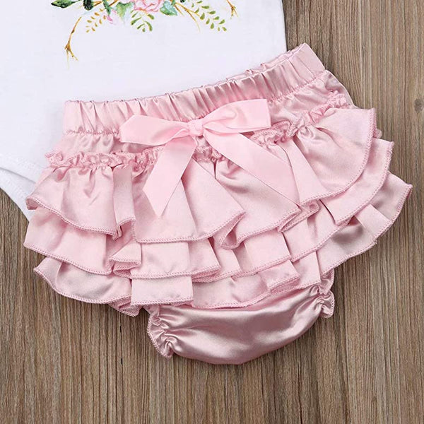 Floral Deer Antler Outfit Newborn Girl Gift Set Bodysuit Pink Satin Bloomers Diaper Cover Headband Baby Shower Gifts Clothing Sets Newborn Infant Girl