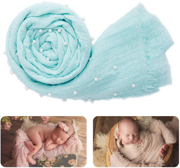 Pearl Dots Newborn Muslin Swaddle Blanket & Headbands Baby Shower Gift Set Photography Props Girl Boy Unisex Gifts Blue Red Blush Pink