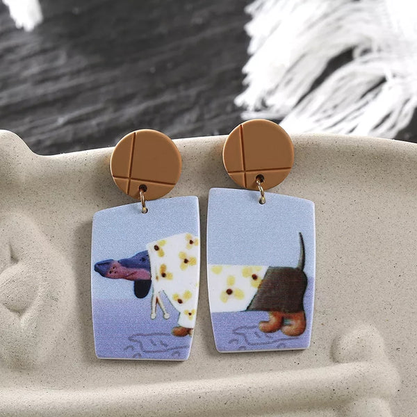 Dachshund in Rain Gear Womens Earrings Wiener Dogs Raincoats Slickers Dog Mom Jewelry Gifts Women's Earring's
