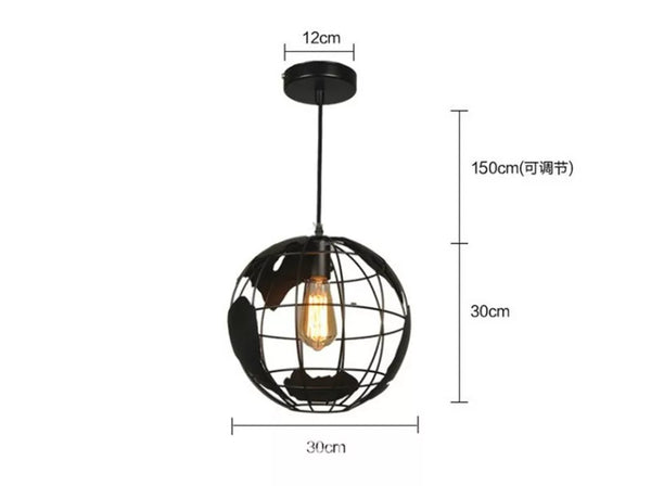 World Globe Pendant Light Black White Nordic Global Hanging Lamp Industrial Metal Lighting Home Decor Bedroom Boys Men Rooms Loft Adventure Travel