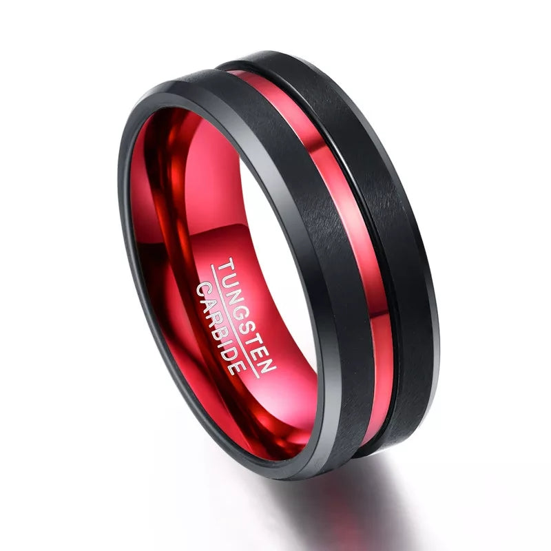 Thin Red Line Ring Firefighter Wedding Rings First Responder Emergency EMT EMS Black Tungsten Red Crome Groove & Inner Band Engraving Fireman Men Jewelry Gifts Engagement Bands