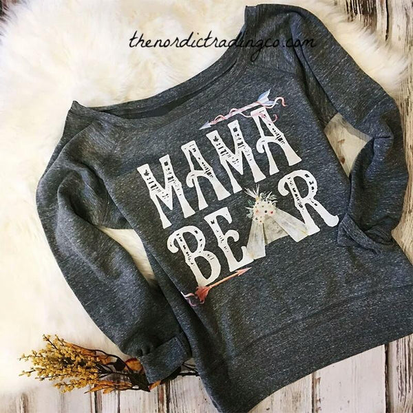 Mama Bear Sweatshirt L or XL Loose Fit Gray Grey Arrows Tee Pee Gifts for Mommy Mom Her Women's Casual Clothing
