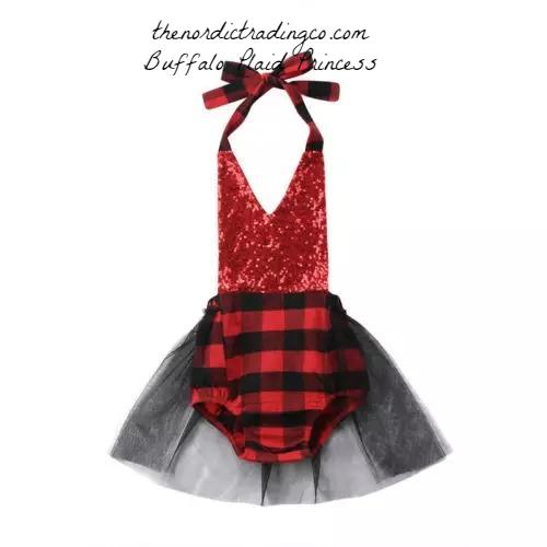 Buffalo Plaid Princess Tutu Romper Lumberjack Party Woodlands Girls Dresses Family Photo Outfits Birthday Party Dress Skirt USA 6 12 18 24 Mo.