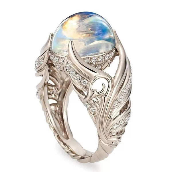 Elegant Wings Crystal Moonstone Ball Women's Rings Jewelry Gifts for Her Swan Ring Gift Wife Mom Mother's Day