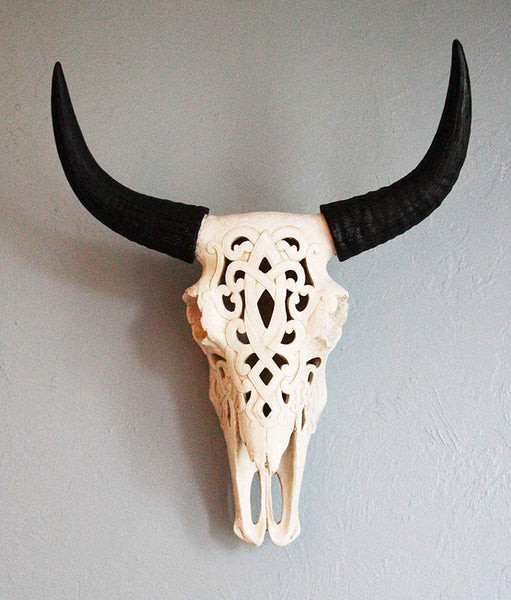 Carved Bull Skull Wall Sculpture Southwestern Home Decor Animal Horns Art Rustic Southwestern Western Livingroom Mantel Bedroom Decorations
