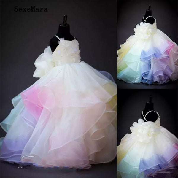 If Freshly Spun Cotton Candy were a Flower Girl's Dress Girls Gown Mixed Pastel Colors Layers Custom Gowns Birthday Party Dresses Long Portrait Toddler Girl Ball Gowns