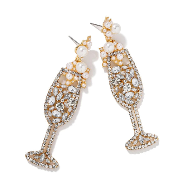 Pop the Bubbly Champagne Flute Earrings Crystals Pearls Sparkly Bubbles Celebration Engagement New Year Womens Jewelry Gifts