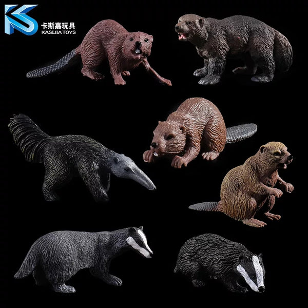 Minature Figurines Animal Species Accurate Badger Beavers Wolverine Anteaters Aardvark Tasmanian Devil Terrarium Decoration School Science