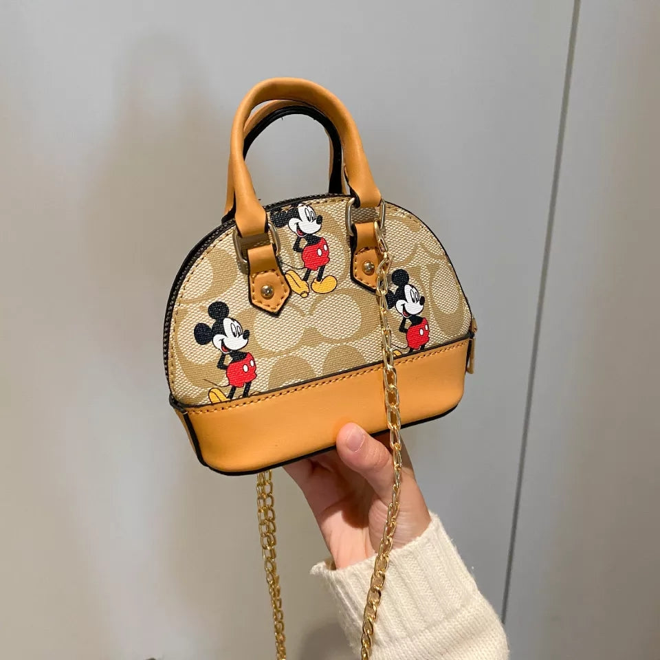 Mini Mickey Girls Shell Purse Leather 2 Handle Tote Bag Mickey Mouse Miniature Girls Childrens Bags Kids