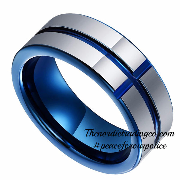 Tungsten Carbide Band Thin Blue Line Cross Inlay Police Officer Wedding Ring Support Honor sz 8-13 Men's Jewelry Accessories